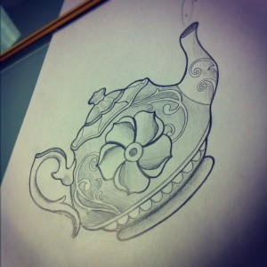 Traditional teapot tattoo sketch