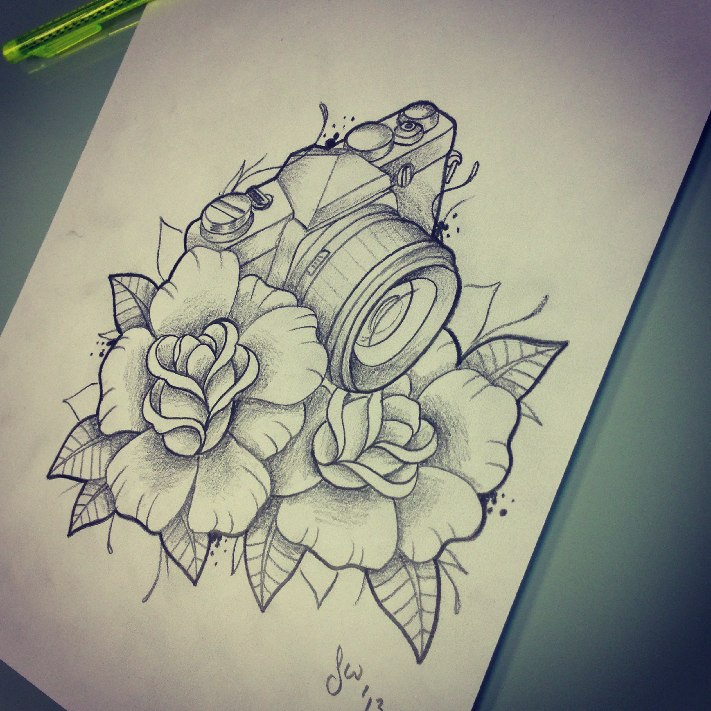 Camera tattoo design - Traditional